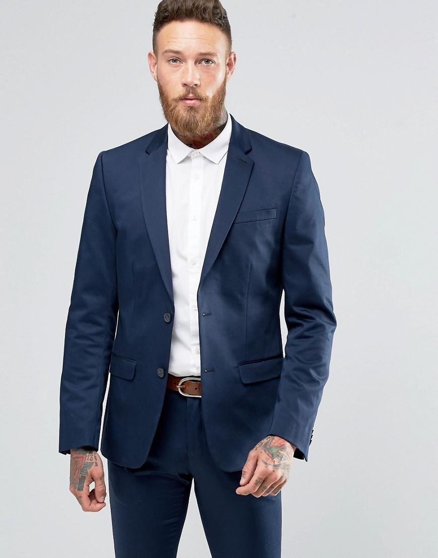 lyst new look sateen suit jacket in navy in blue for men. Black Bedroom Furniture Sets. Home Design Ideas