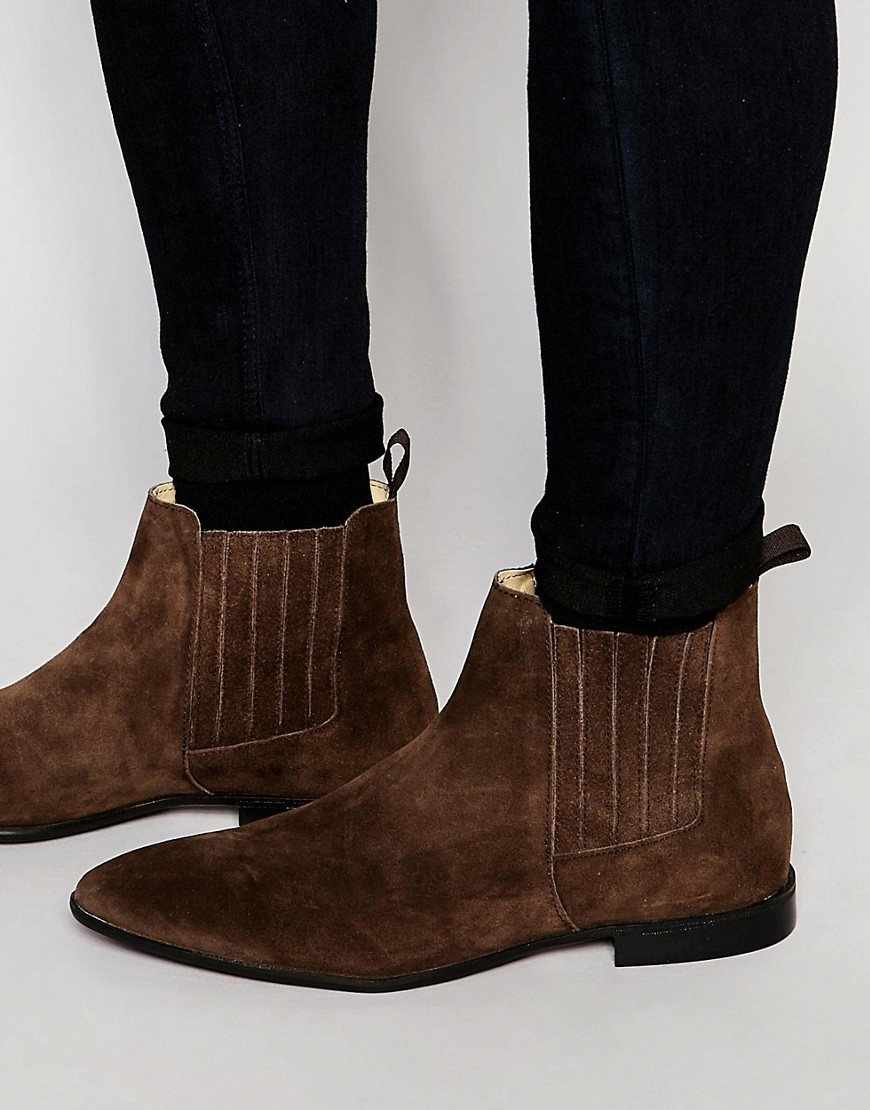 asos chelsea boots in brown suede with concealed elastic