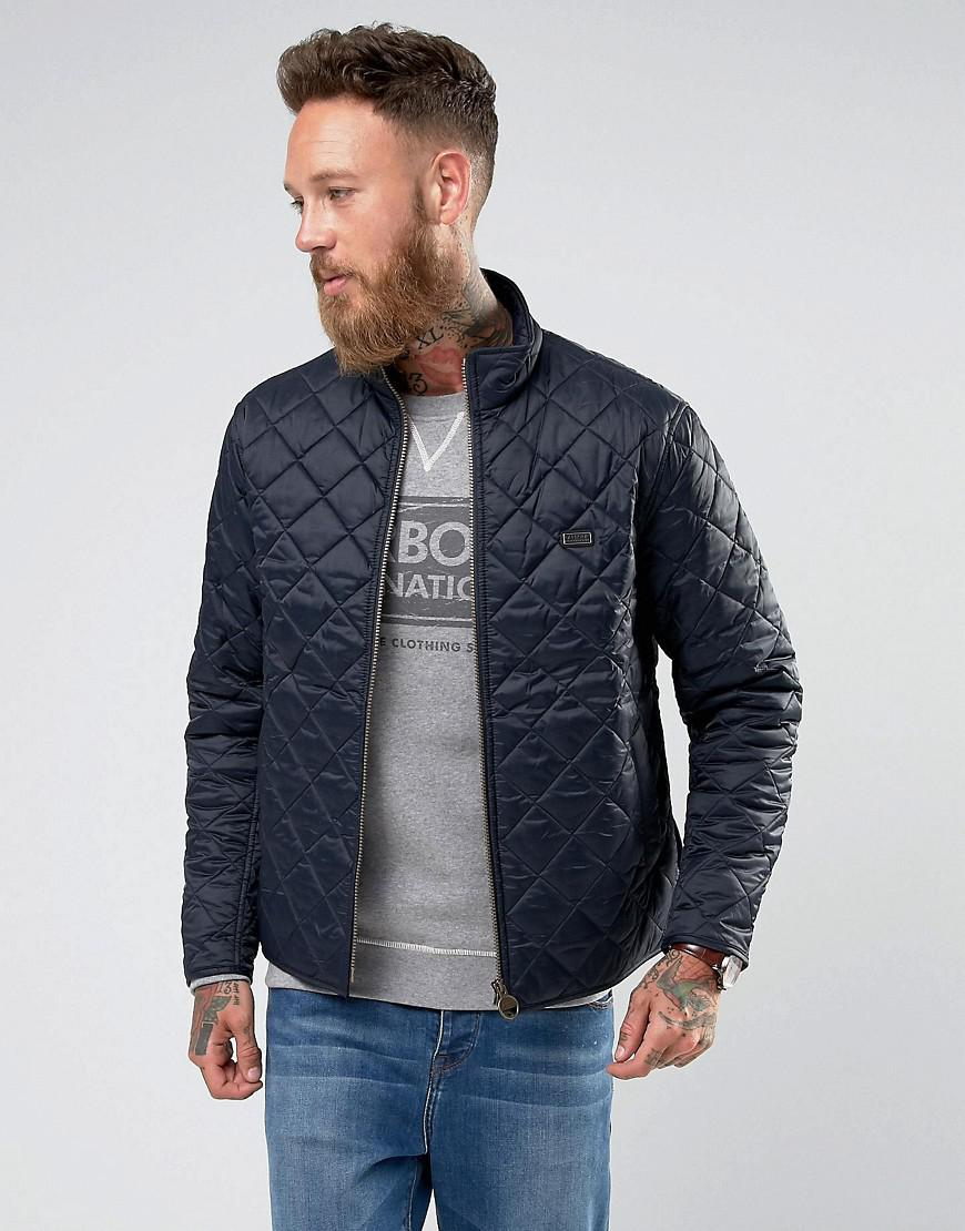Barbour International Slim Fit Gear Quilted Jacket In Navy In Blue