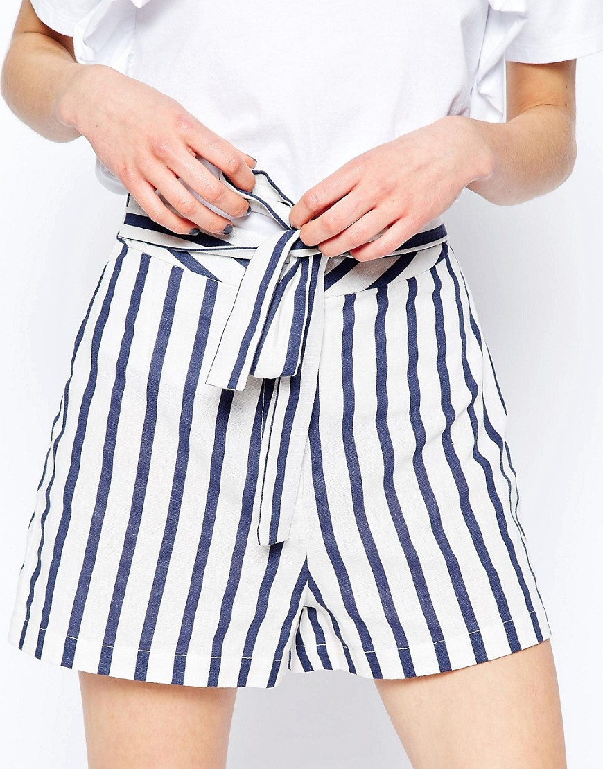 Asos Tall Linen Stripe Shorts With Tie Belt In Blue Lyst