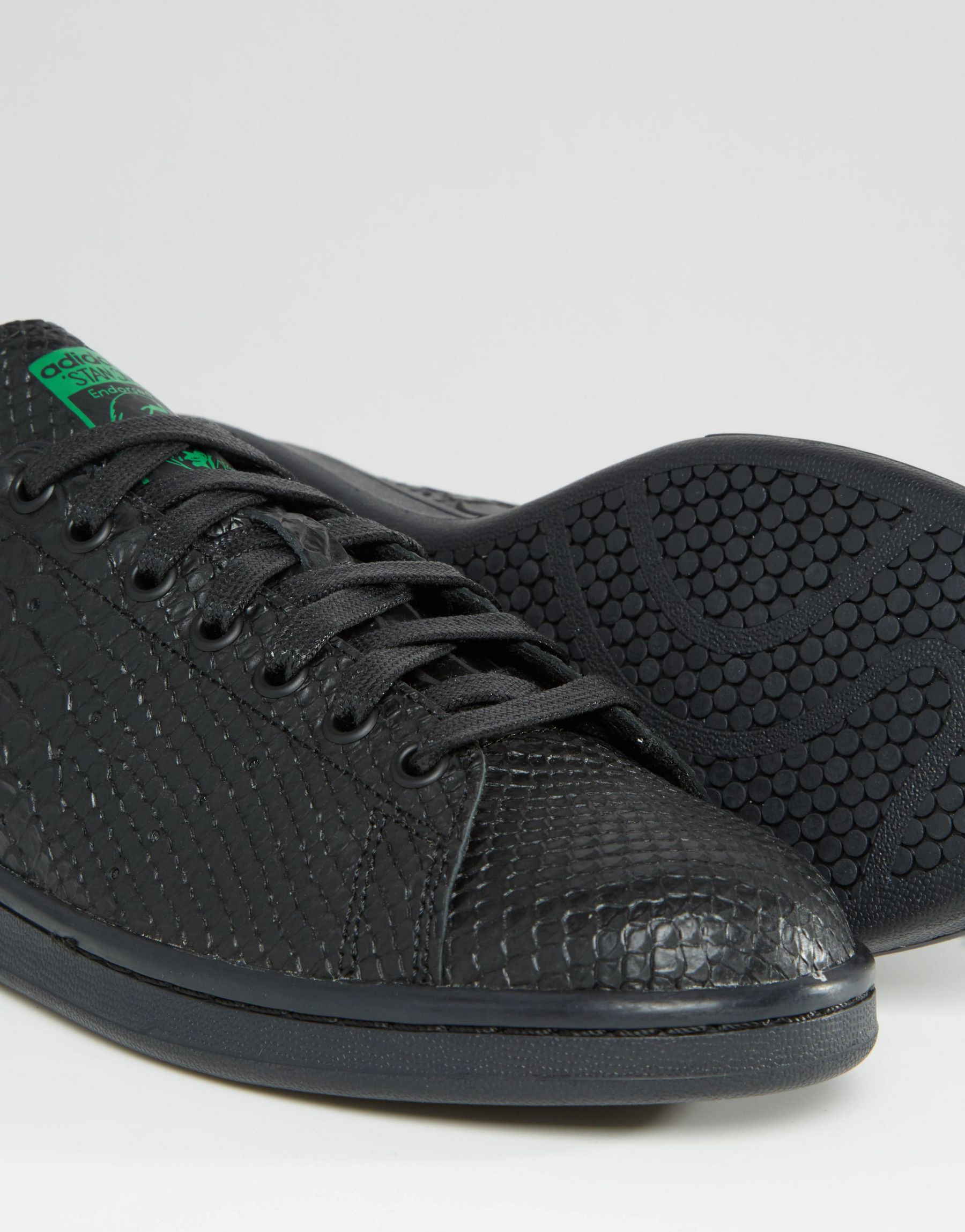 sports shoes 0bbf4 9ad91 Lyst - adidas Originals Stan Smith Snake Effect Trainers In Black S80022 -  Black in Black for Men