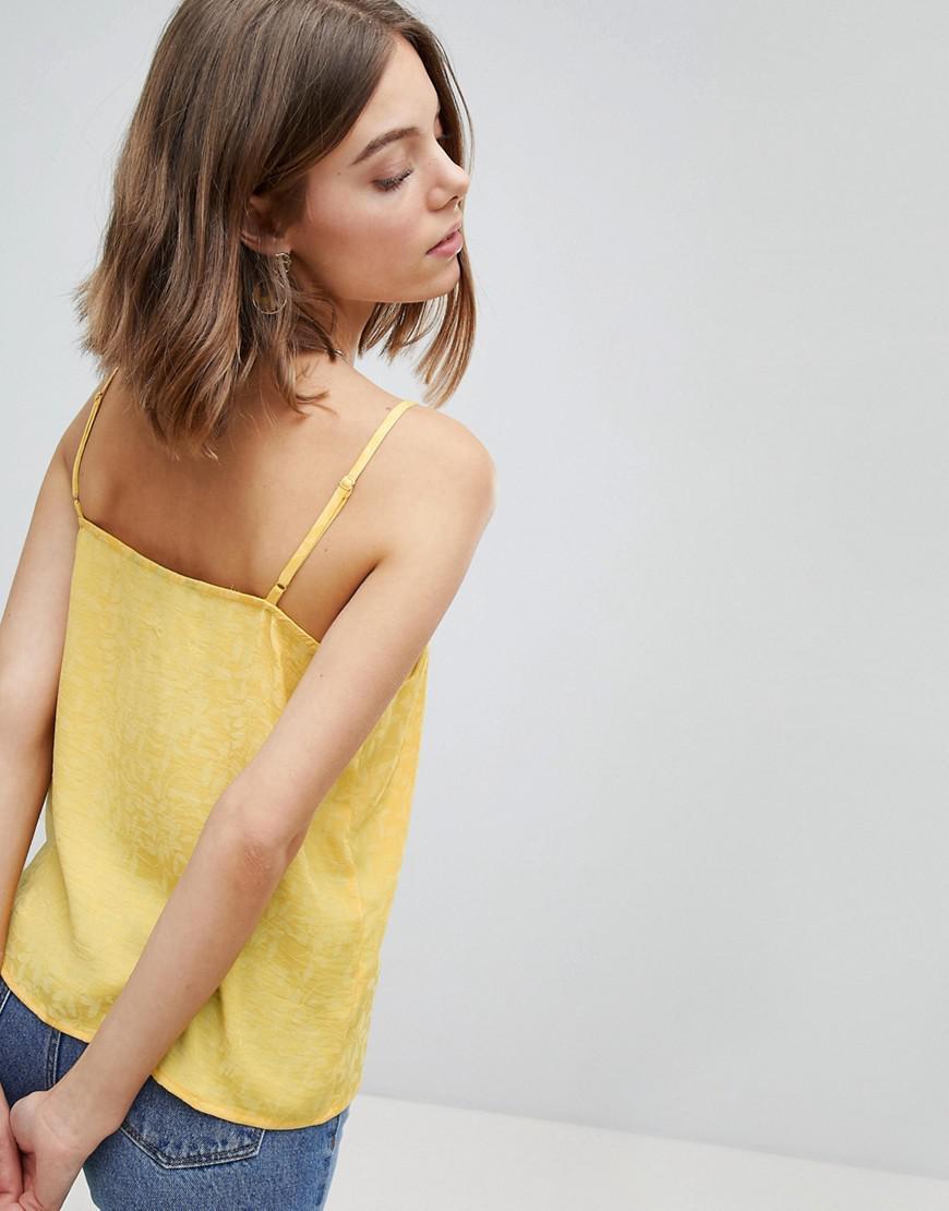 1569b5c9ad4 Vero Moda Button Up Cami Top in Yellow - Lyst