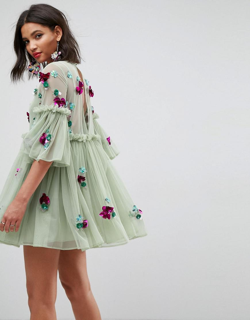 eb92e78c4209 ASOS Embellished Mesh Fluted Sleeve Smock Mini Dress in Green - Lyst