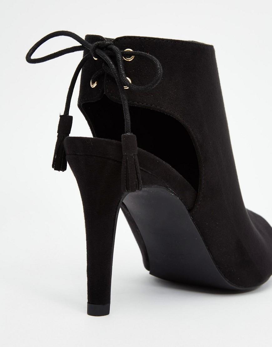 new look open toe shoe boot in black lyst