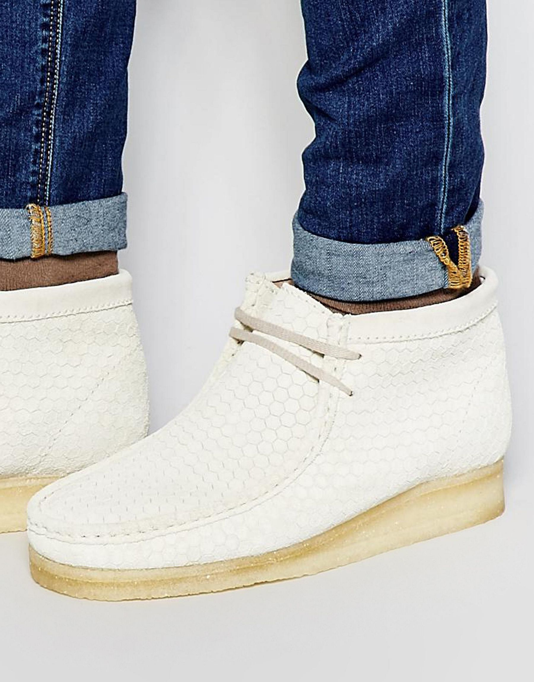 Lyst - Clarks Wallabee Hexagon Suede Ankle Boots in White c6b7ab76e8