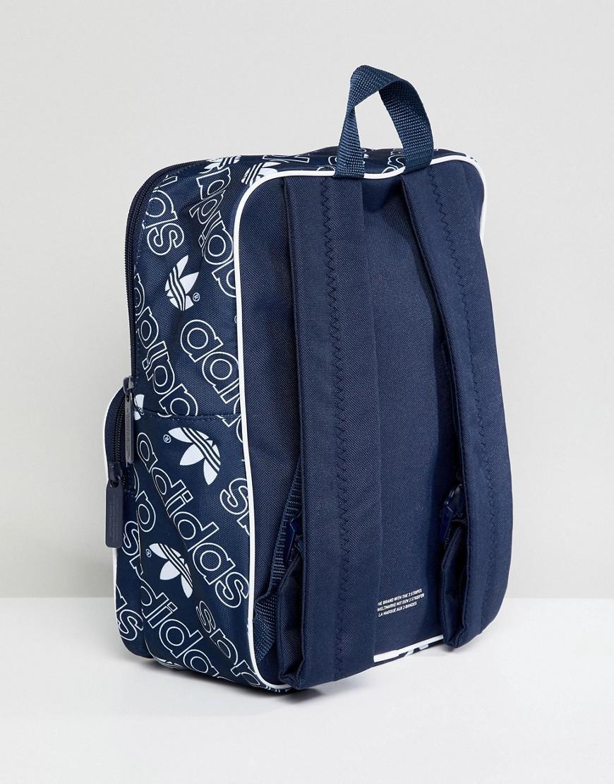 5e4cd1e2b7 adidas Originals Classic Medium Backpack In All Over Logo in Black ...