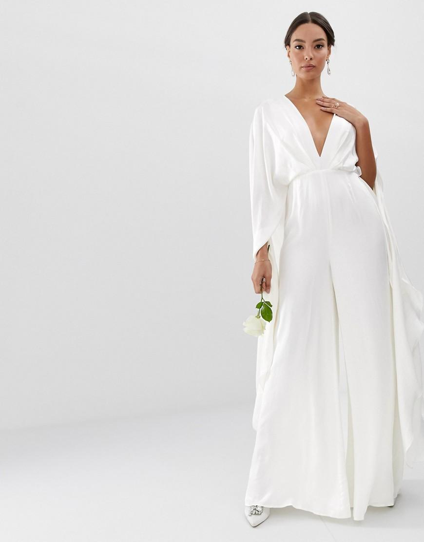30c9e2d74481 ASOS Cape Sleeve Wedding Jumpsuit In Satin in White - Lyst