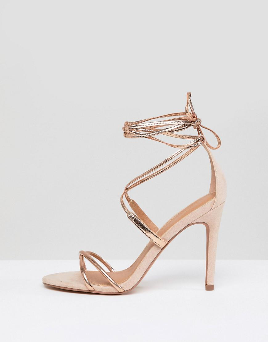 5dc62afb4090 ASOS Hettie Barely There Heeled Sandals in Metallic - Lyst