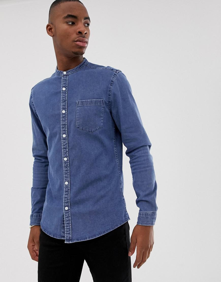 3a85aa63e3d ASOS. Men s Blue Stretch Slim Denim Shirt In Mid Wash With Grandad Collar
