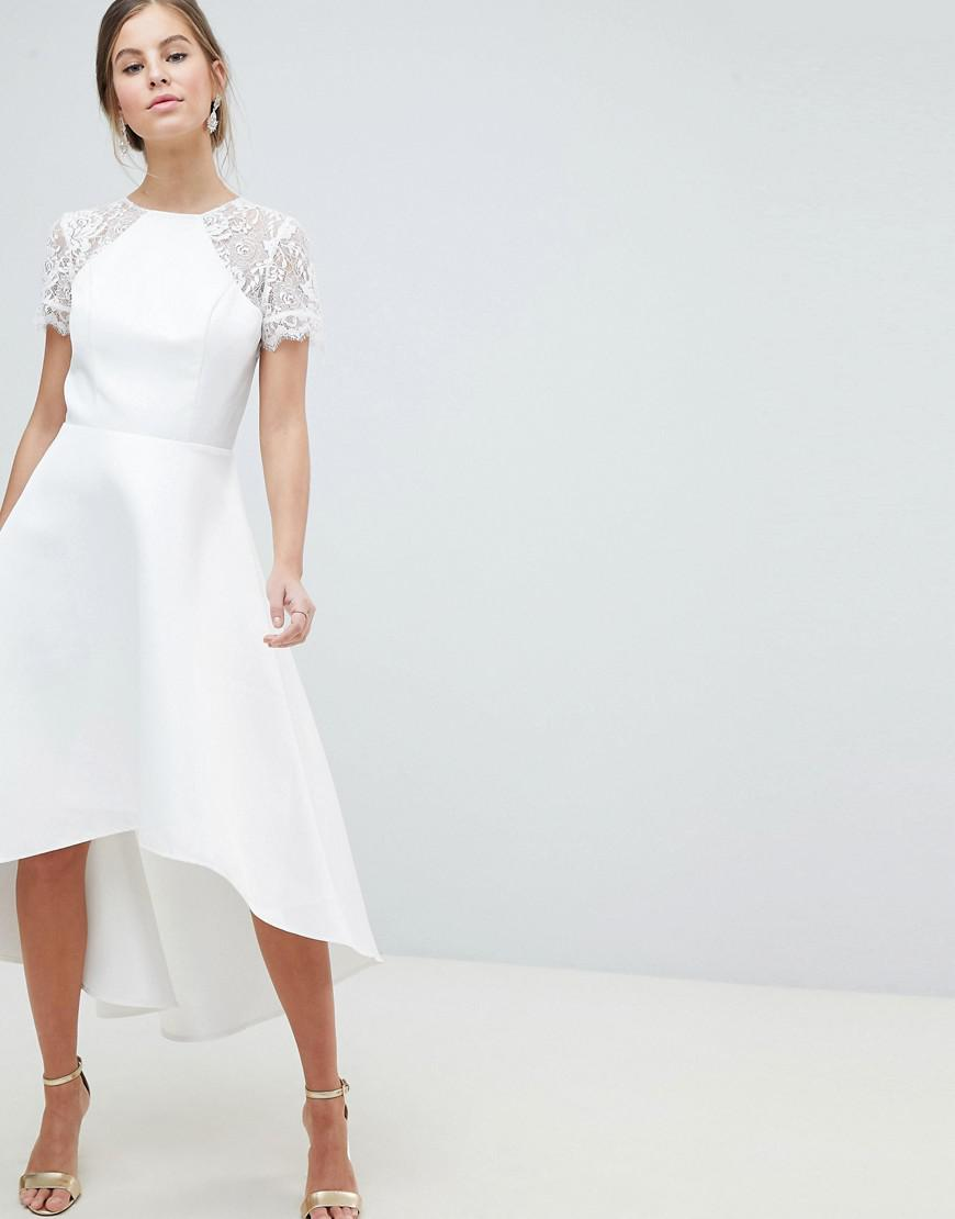 3d144393321 Chi Chi London. Women s White Floral Lace Neckline Short Sleeve High-low  Dress