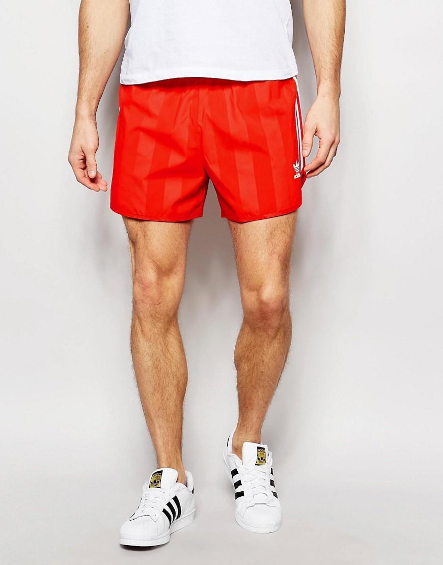 adidas originals retro shorts aj6934 in red for men lyst. Black Bedroom Furniture Sets. Home Design Ideas