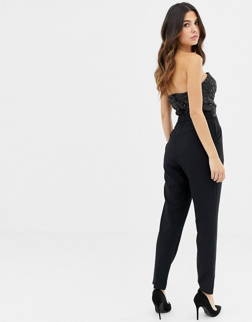 0dea5ca3dbe8 Lyst - Lipsy Bandeau Jumpsuit With Sequin Detail In Black in Black