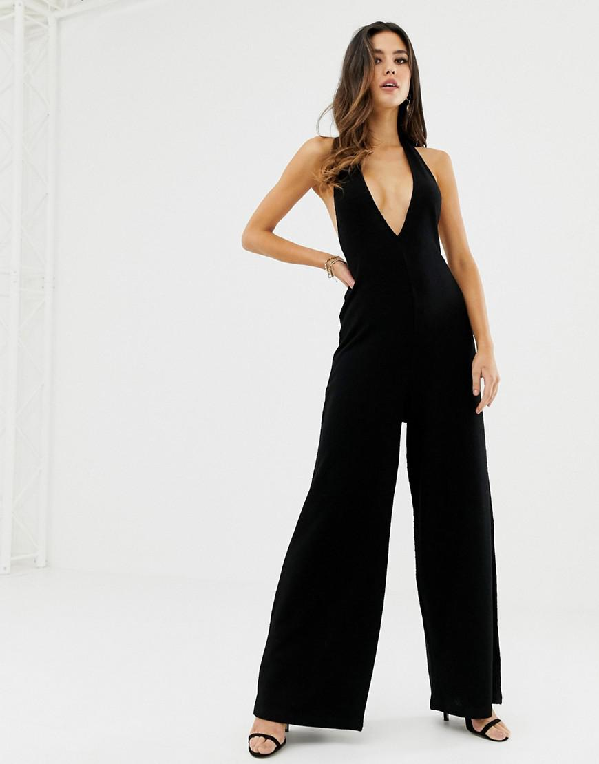 e52f16e2f08 Lyst - ASOS Halter Neck Jumpsuit With Plunge Front in Black