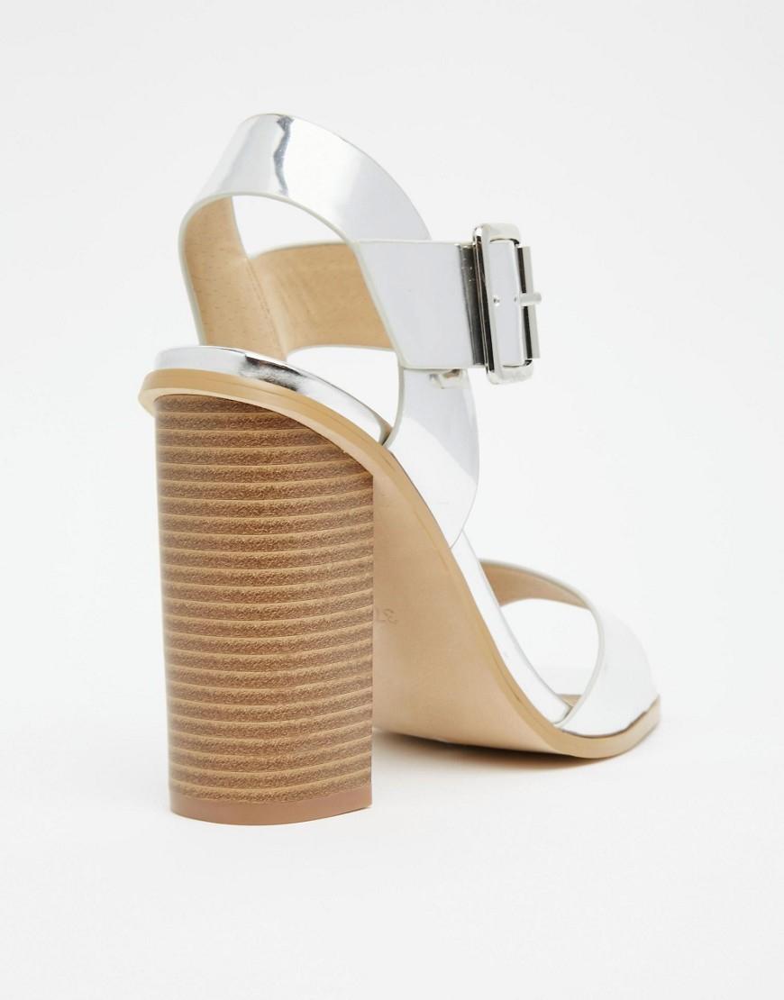 ef6ce628c26 Dune By Dune Ilana Silver Block Heeled Sandals in Metallic - Lyst
