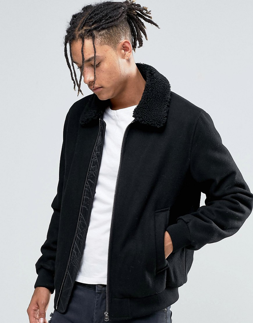 ee03cf23ba3 ASOS Wool Mix Bomber Jacket With Borg Collar In Black in Black for ...