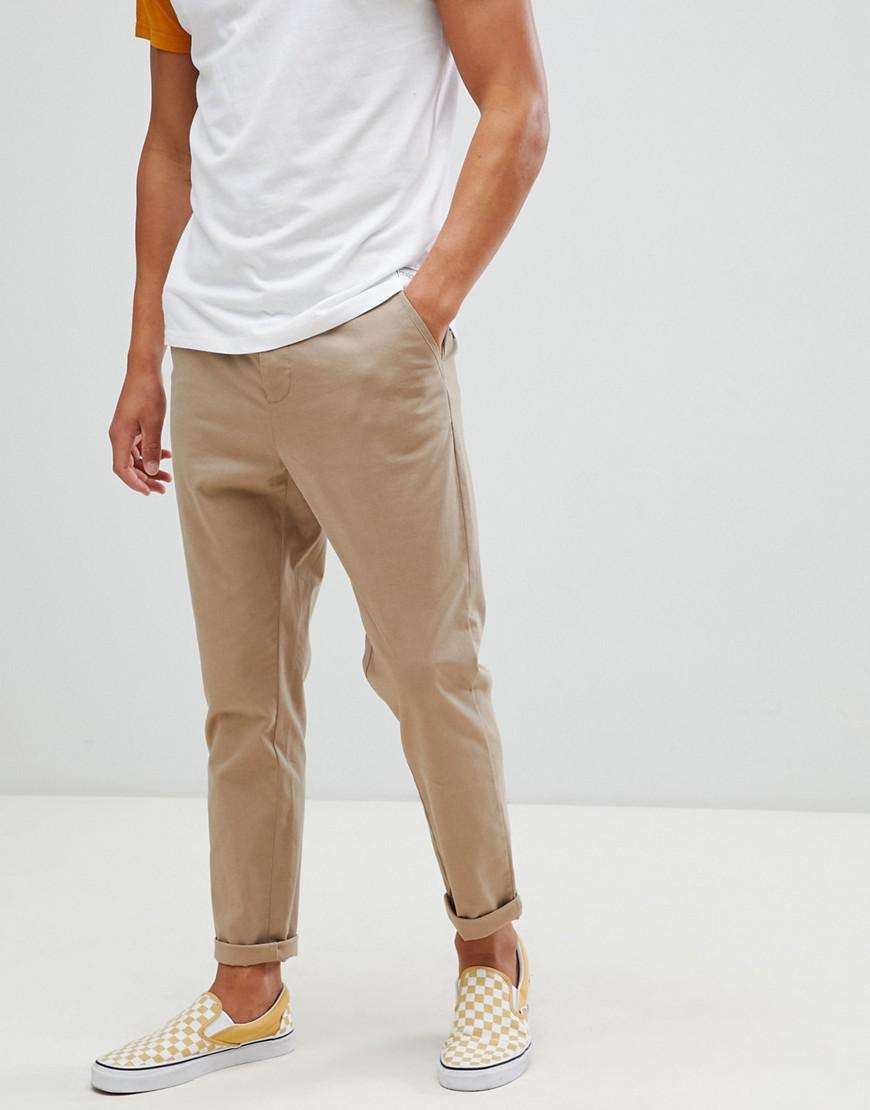 479164005d285d ASOS Tapered Chinos In Stone in Natural for Men - Lyst