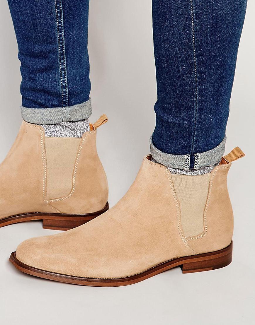 aldo vianello suede chelsea boots in natural for men lyst. Black Bedroom Furniture Sets. Home Design Ideas