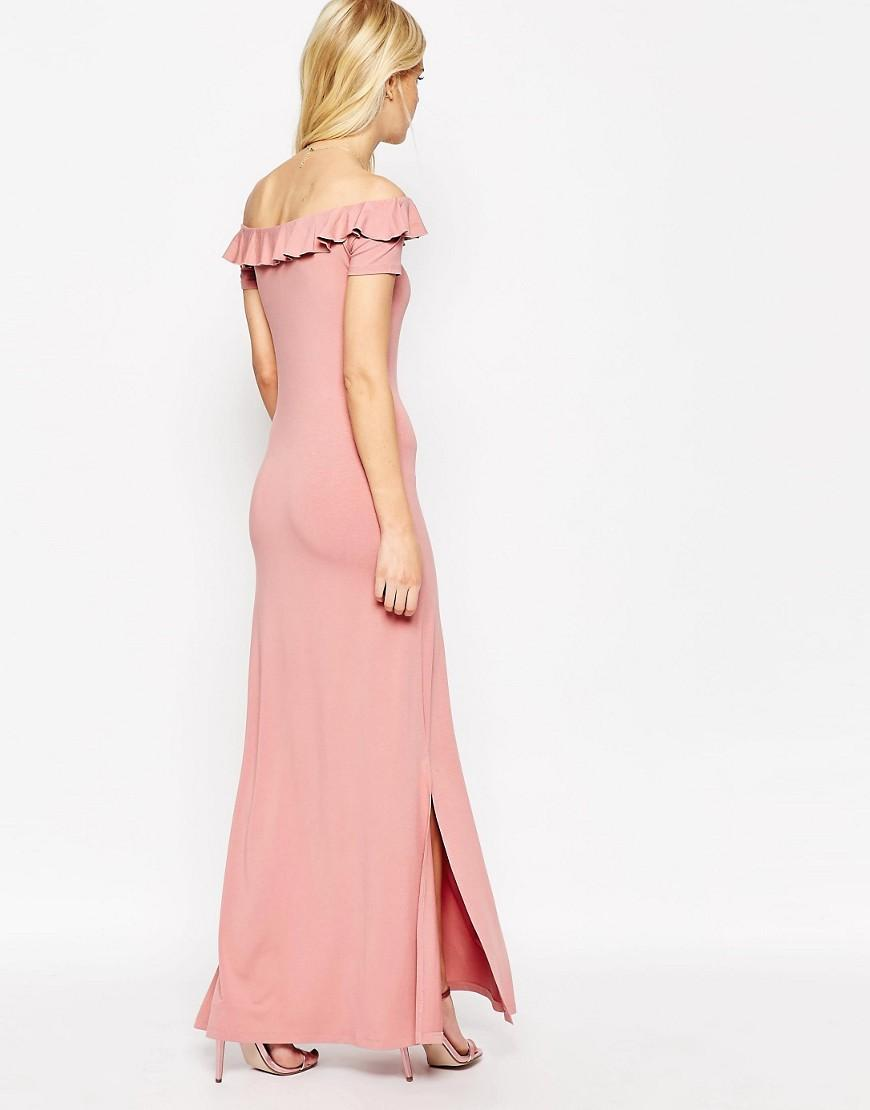 Asos Off Shoulder Maxi Dress With Ruffle in Pink
