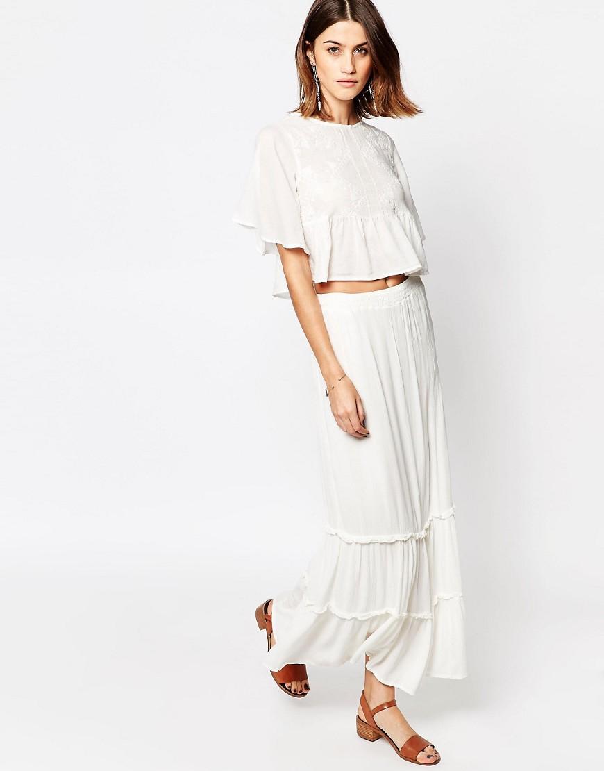 vero moda tiered maxi skirt snow white in white lyst