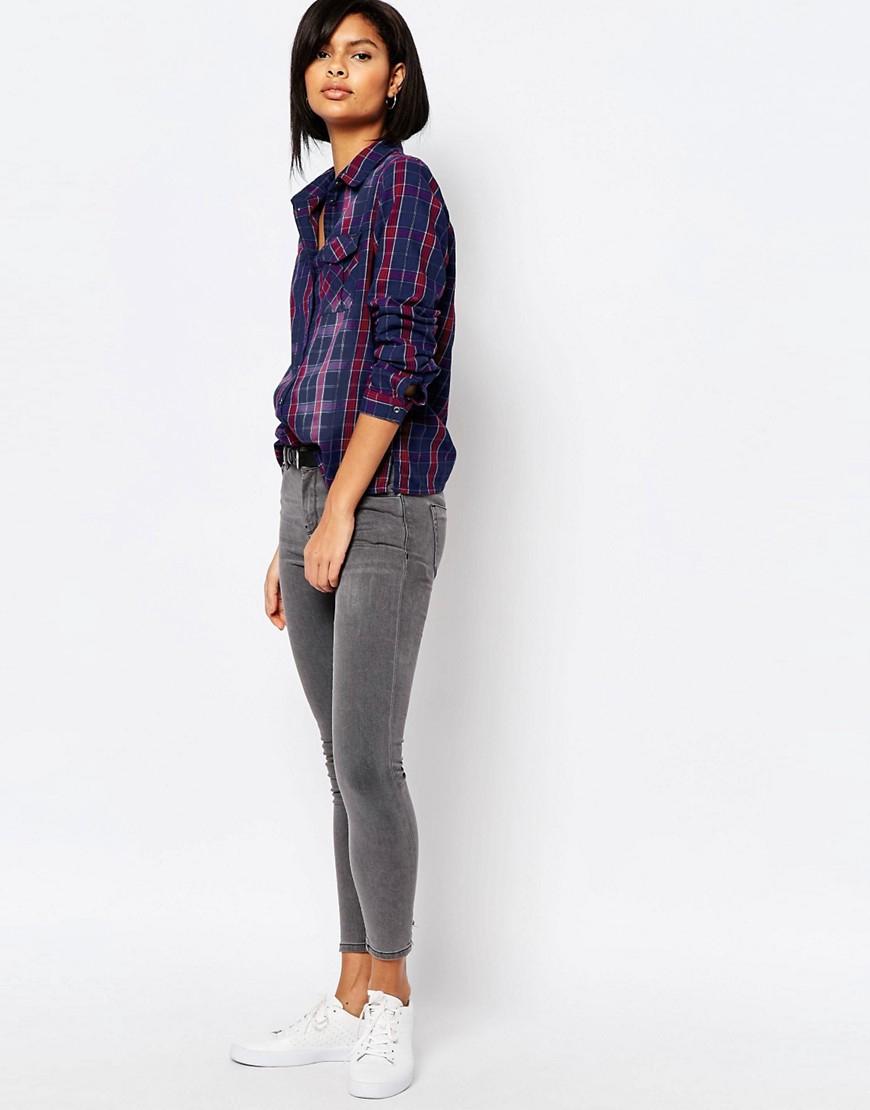 Lyst Vero Moda Ombre Check Shirt In Blue