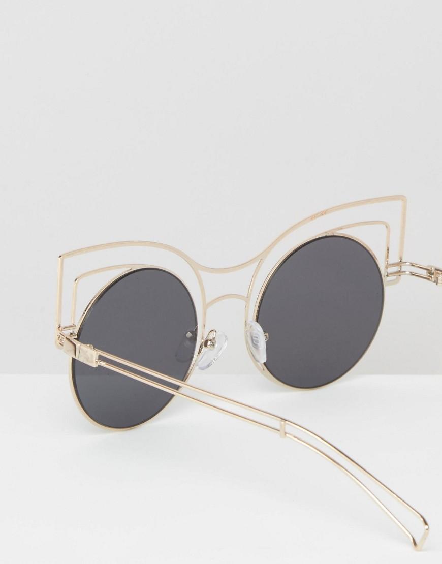 Lyst - Asos Round Kitten Sunglasses In Skeleton Wire Frame in Metallic