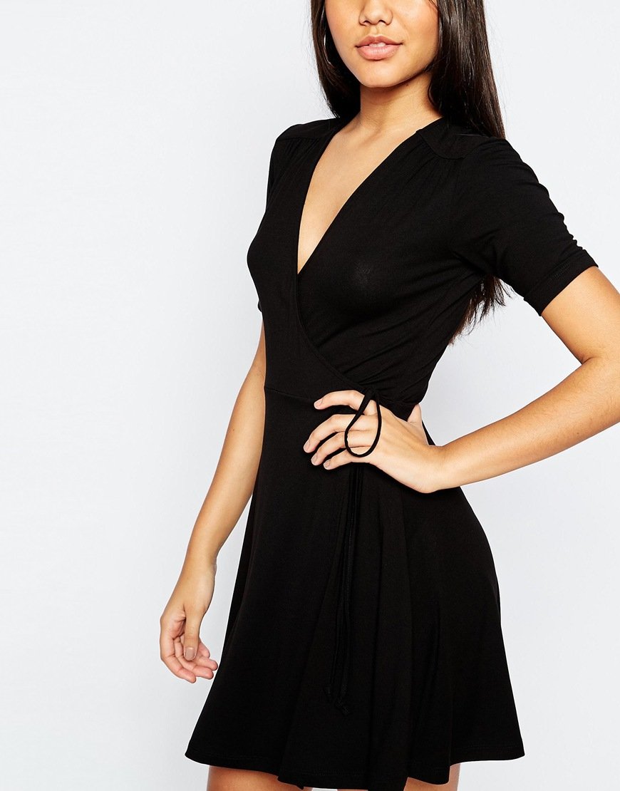 ce102d6337e8 ASOS Mini Tea Dress With Wrap Front in Black - Lyst