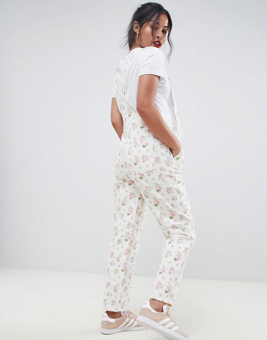 e74d7db185 Lyst - ASOS Asos Design Maternity Denim Dungaree In Floral Print in White