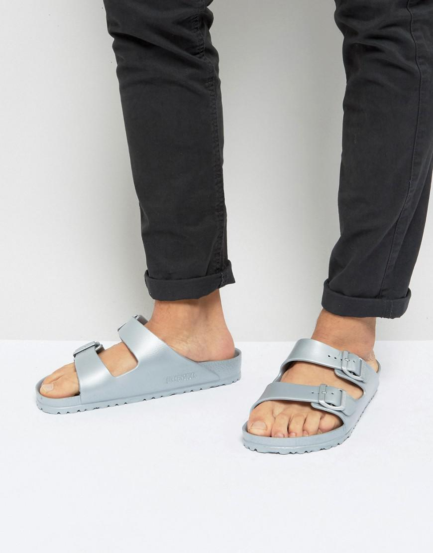 3ece1150bbac3f Birkenstock Arizona Eva Metallic Sandals In Silver in Metallic for ...