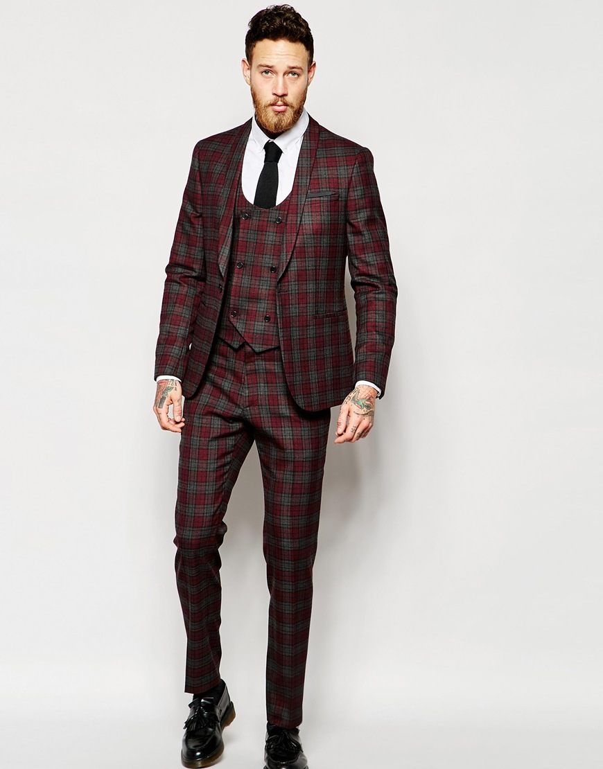 Asos Skinny Suit Jacket In Red Tartan Check in Red for Men - Save ...