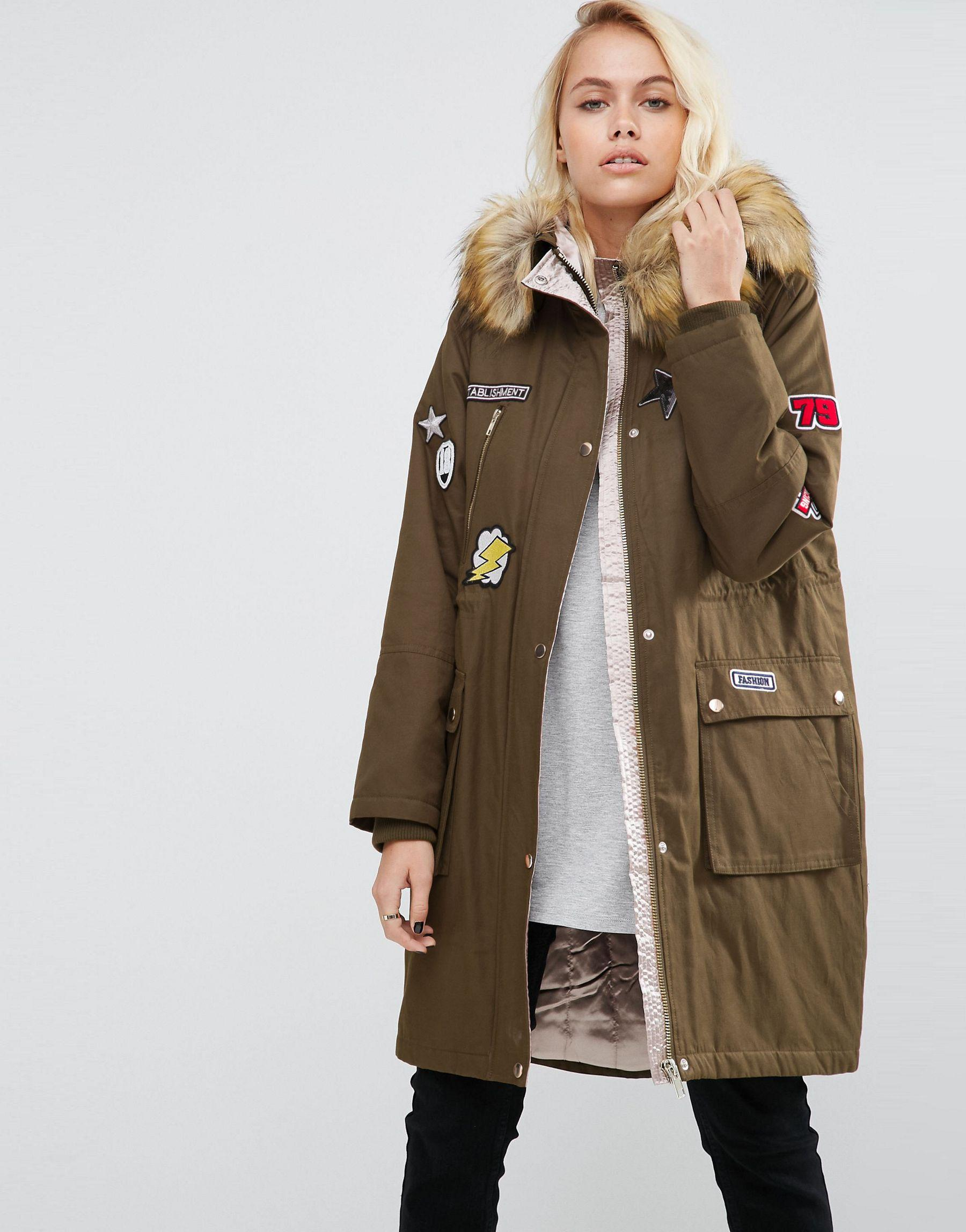 asos badged parka with satin lining lyst #1: khaki 92e37b04