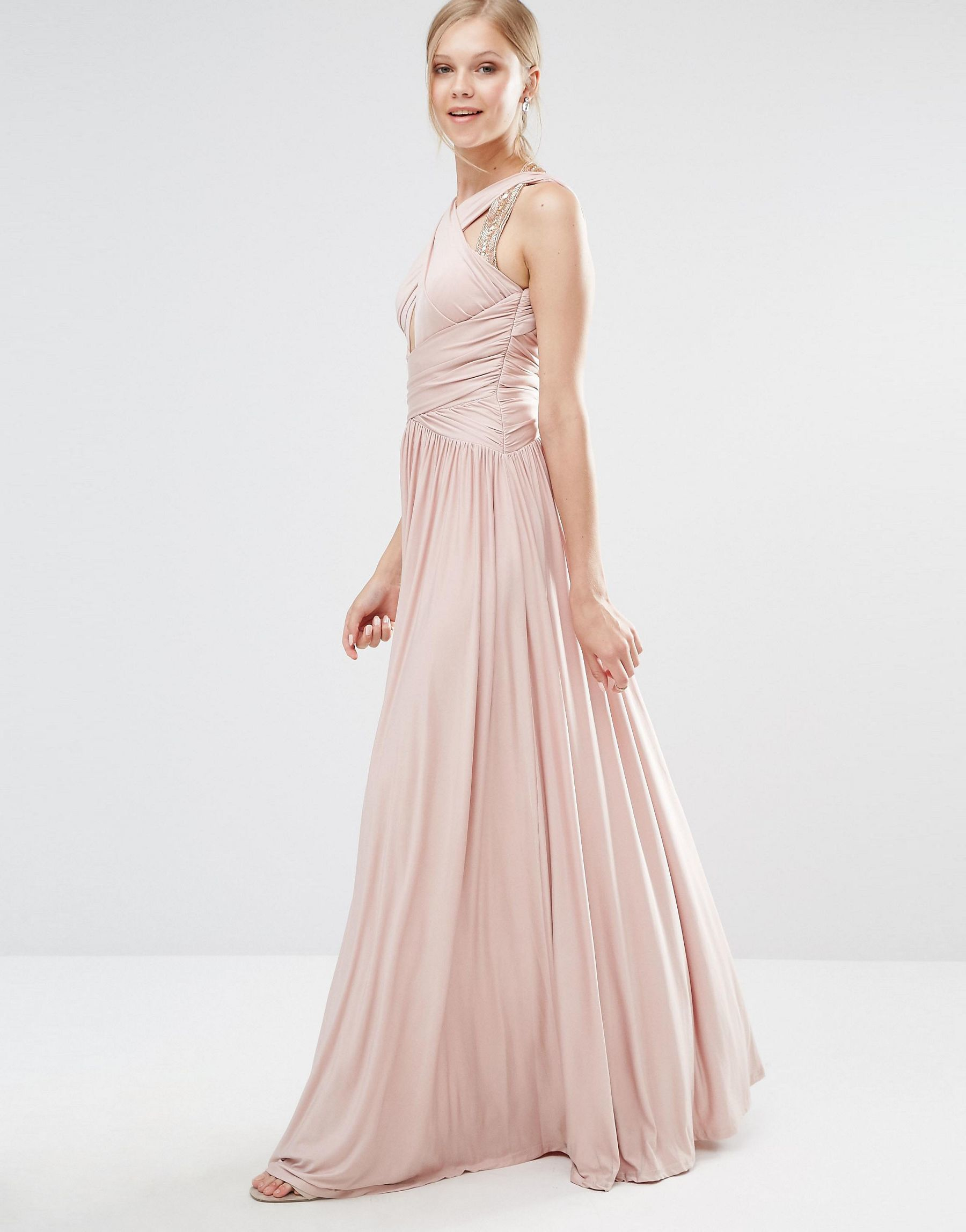 4092988f817 Lyst - Forever Unique Pandora Slinky Maxi Dress With Cross Front And ...