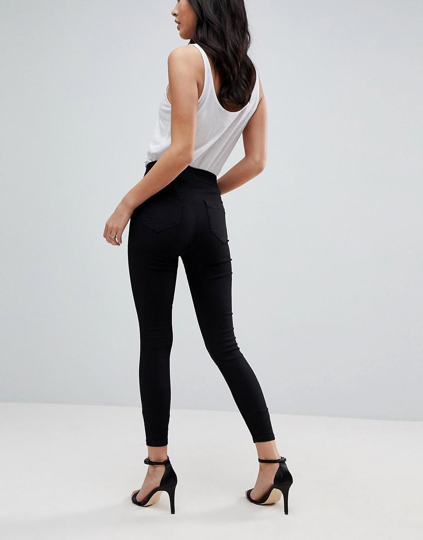697acbbc9e961e ASOS Asos Rivington Denim High Waist Jeggings In Black With Two Ripped Knees  in Black - Lyst