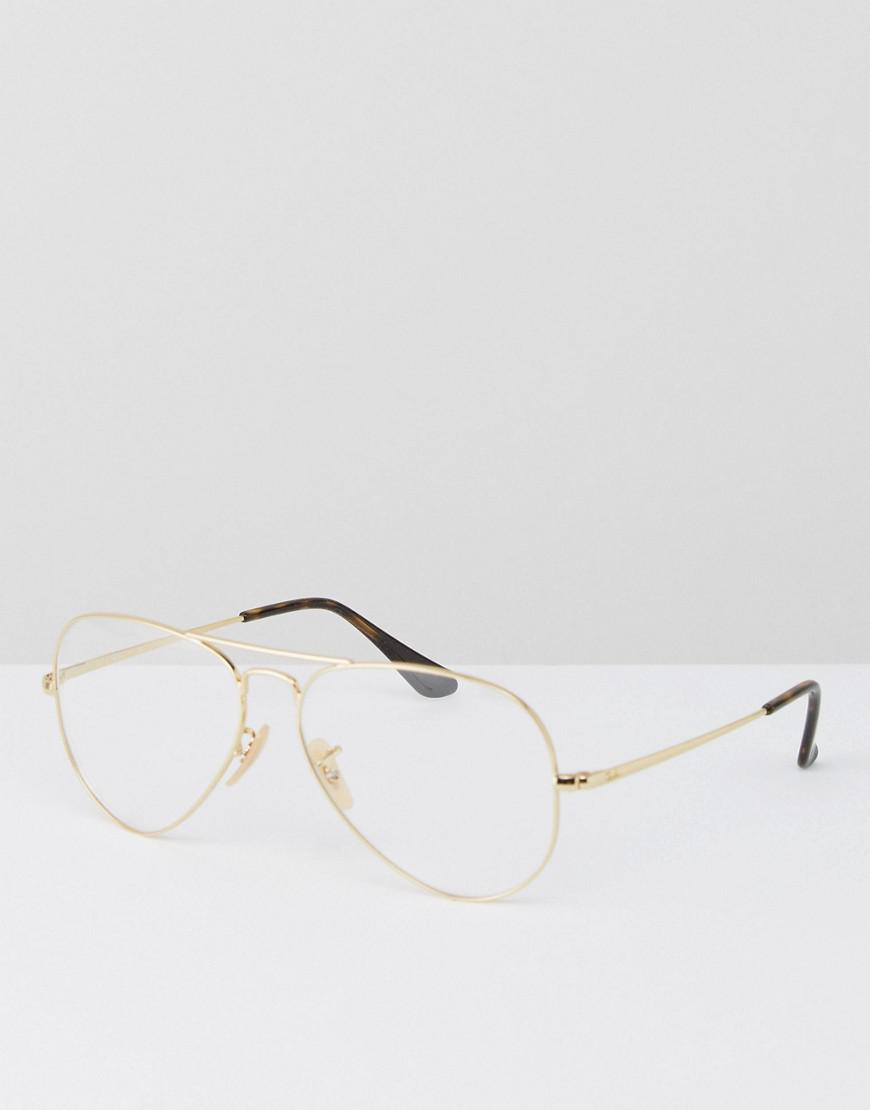 fbf5d725f5 ... sweden ray ban ray ban aviator clear lens glasses in gold in metallic  lyst 6399e f98b6