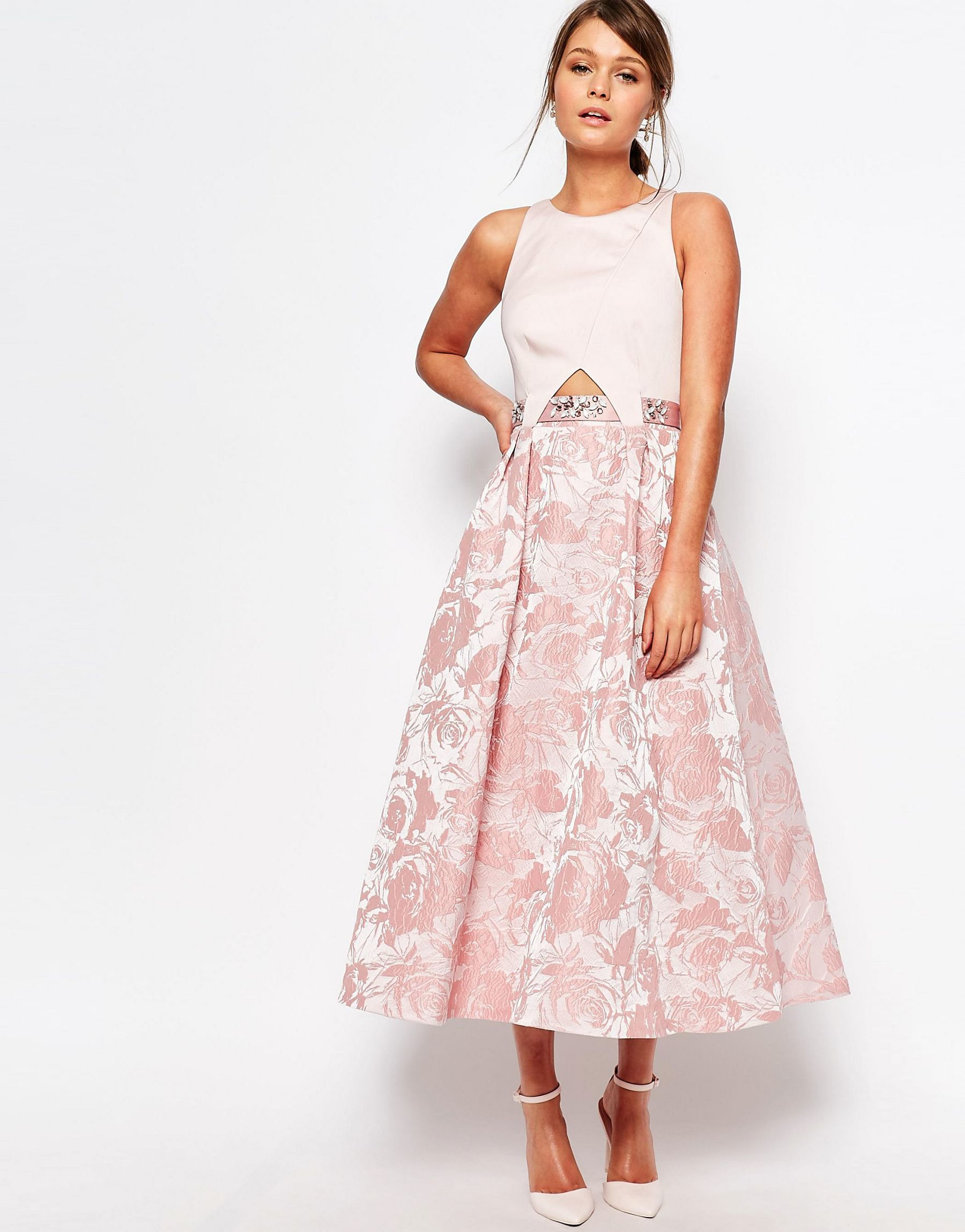 Lyst Coast Kyla Dress With Embellished Waist In Blush In