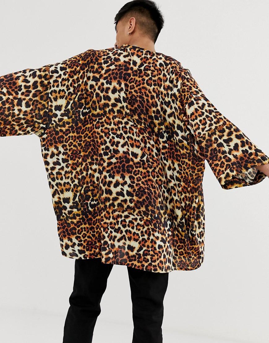 5262e5a1c14c4e Lyst - ASOS Leopard Print Kimono in Brown for Men