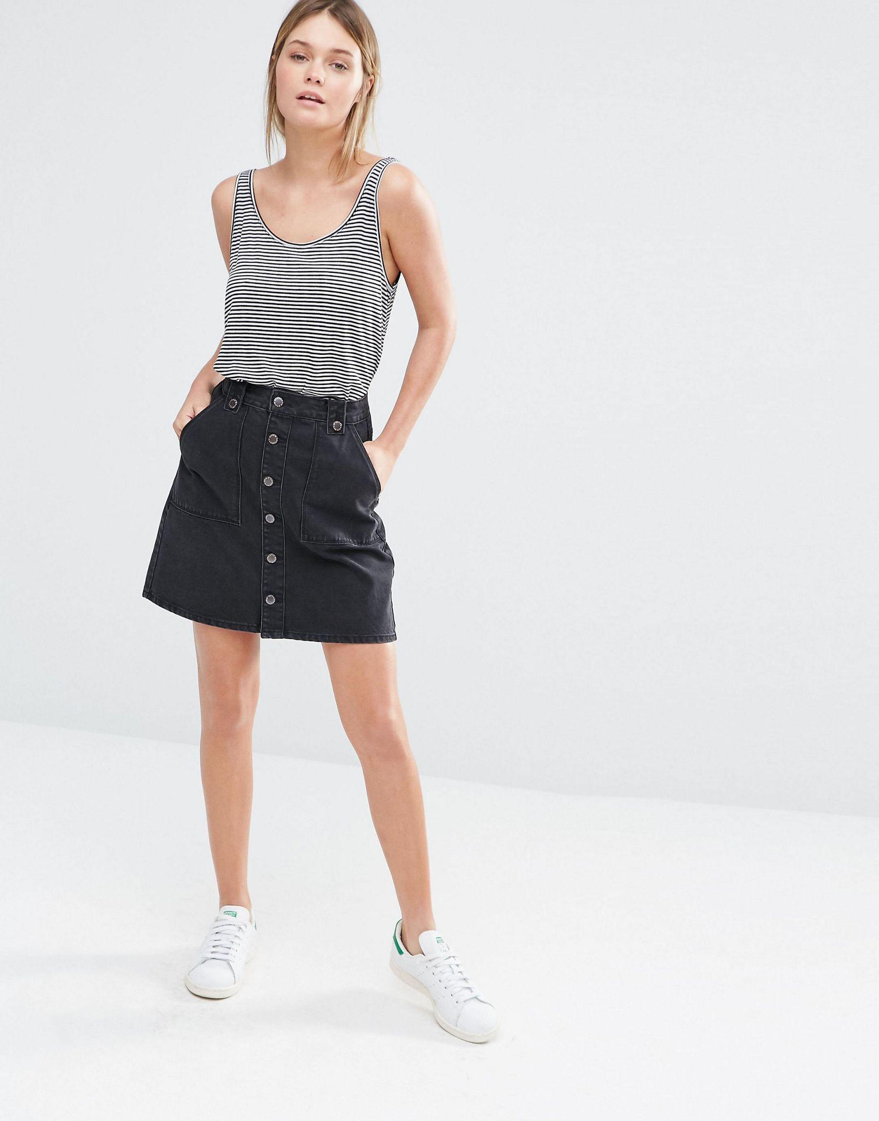 new look a line button through denim skirt in black lyst