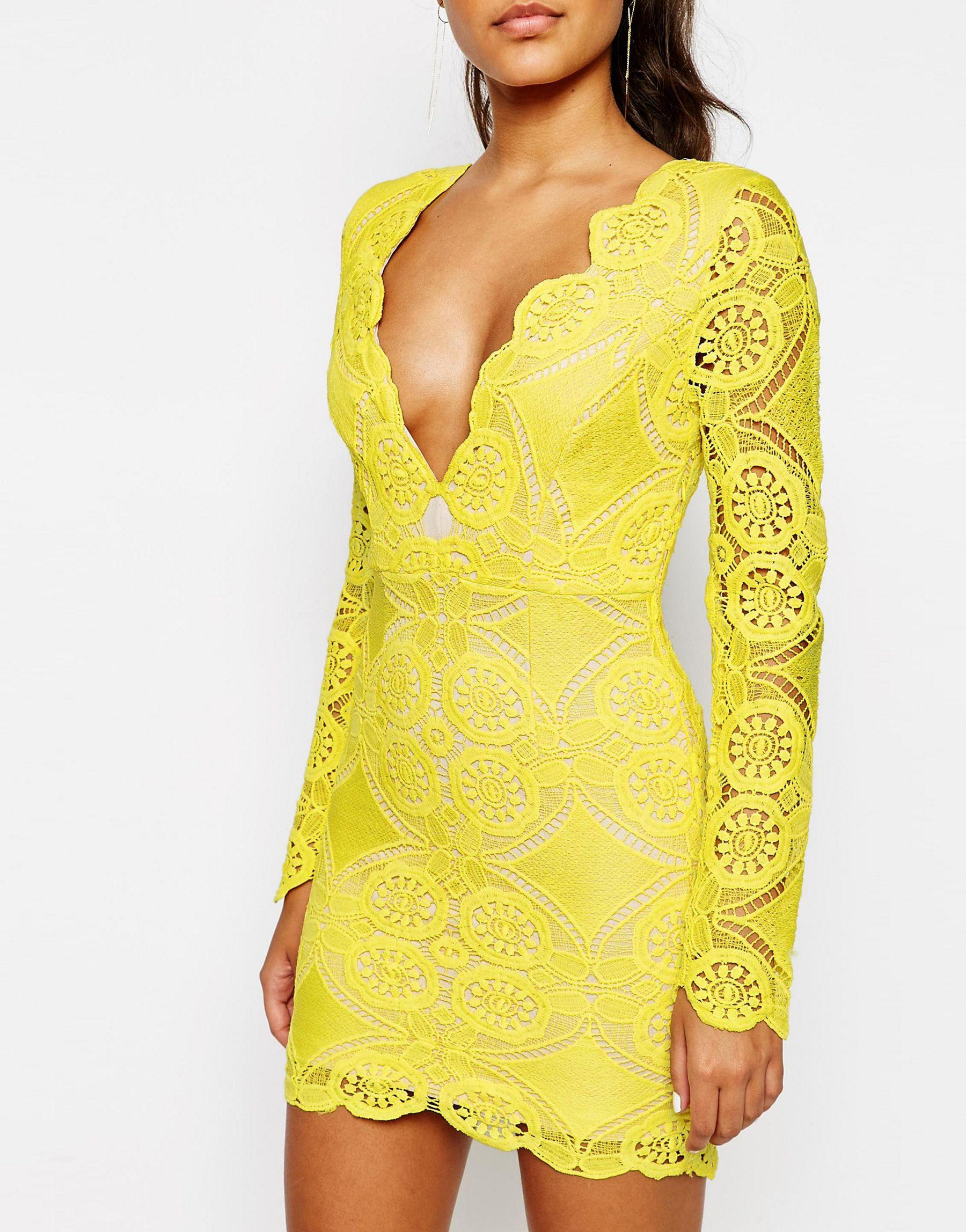 Lyst Love Triangle V Neck Mini Dress In Lace In Yellow