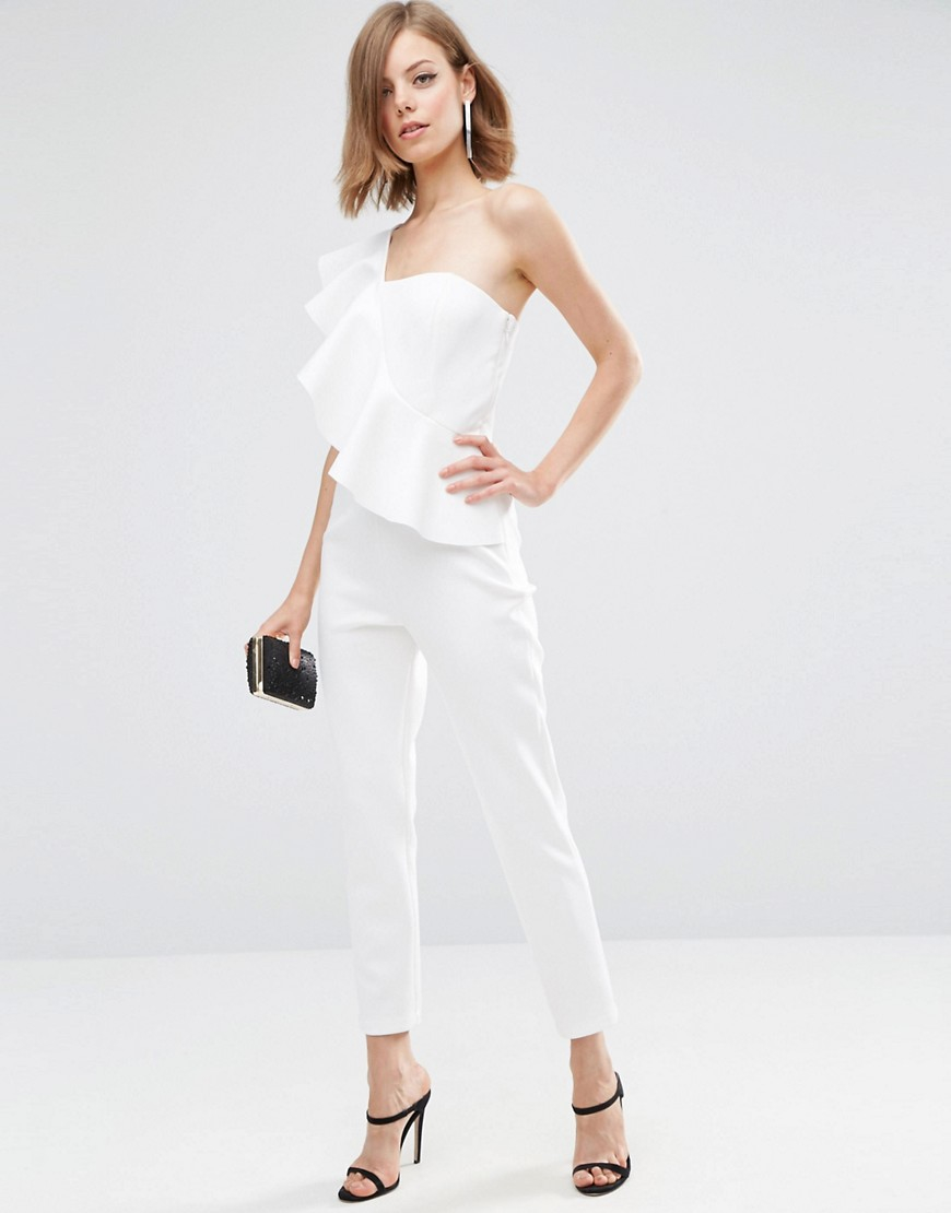 89dce13aa955 Lyst - ASOS Jumpsuit In Scuba With One Shoulder Ruffle in White