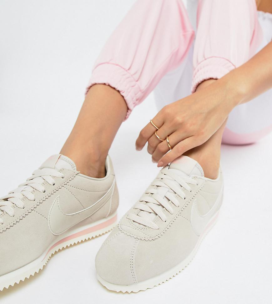 new concept 46f38 50c96 Nike Classic Cortez Sneakers In Sand Suede in Natural - Lyst