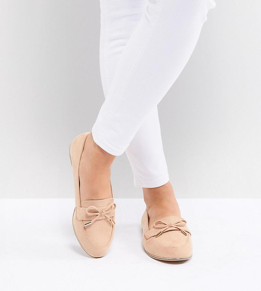 000dc1e49acb Lyst - ASOS Mossy Wide Fit Flat Shoes in Natural