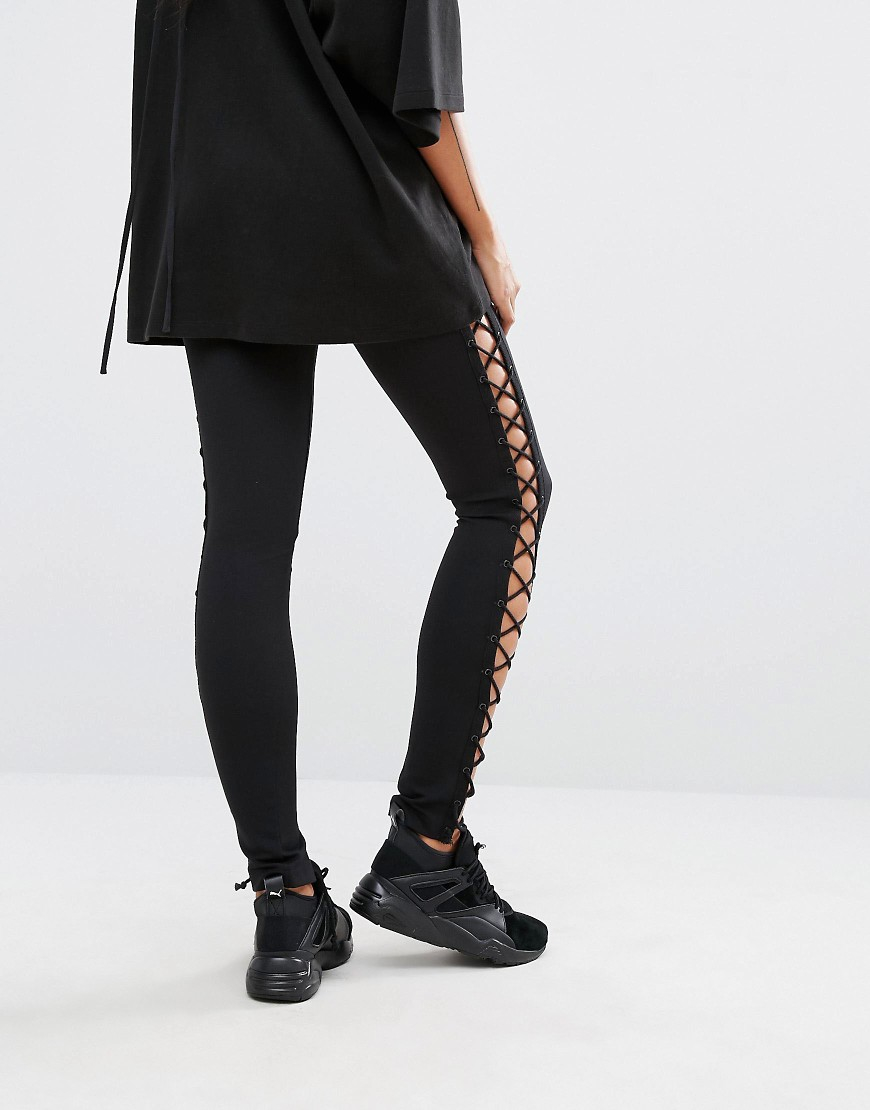 57db7db86416bb Lyst - PUMA Fenty X By Rihanna Lace Up Leggings in Black