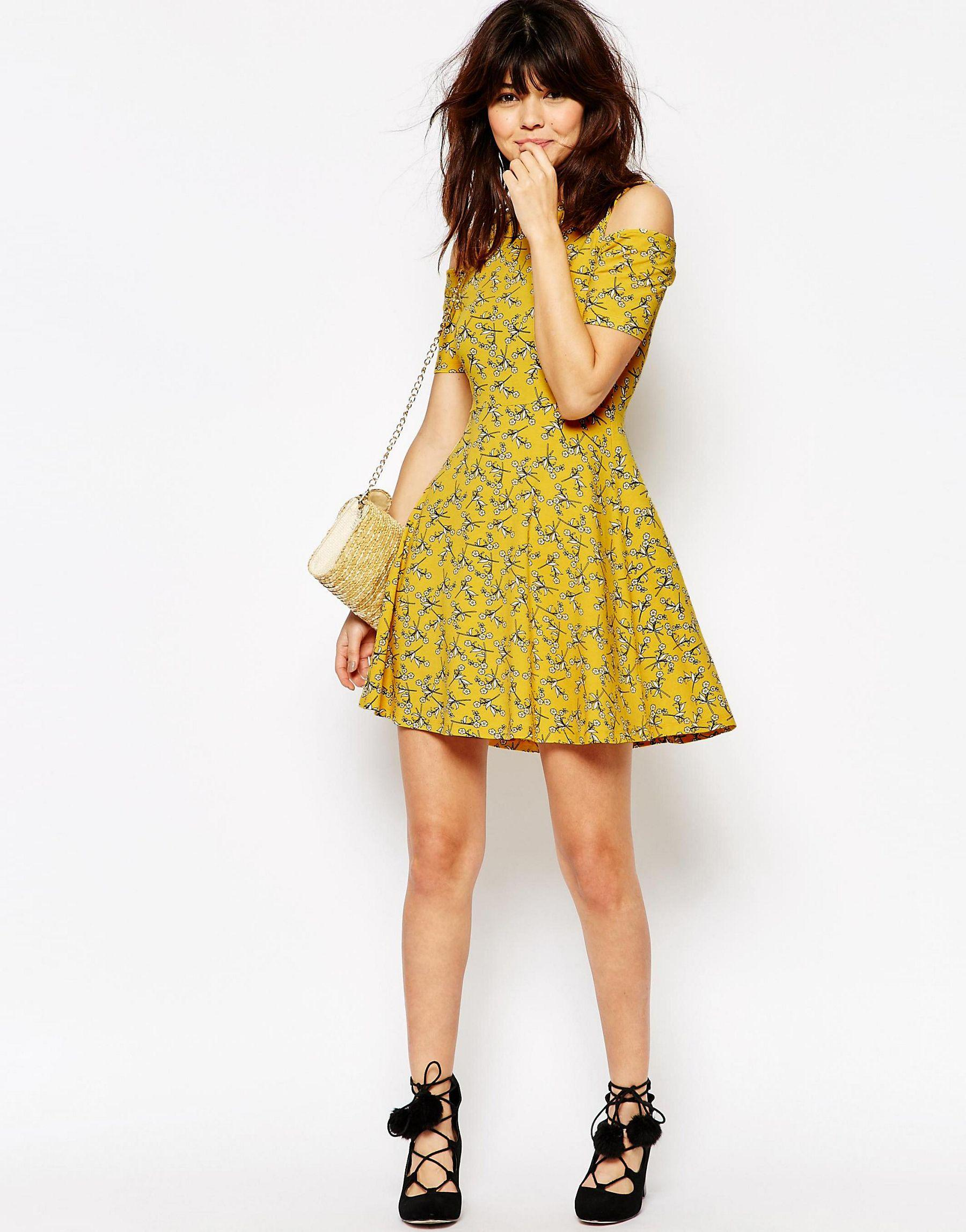 597ab26ea1 Lyst - ASOS Skater Dress With Cut Out Shoulder In Chartreuse Floral ...