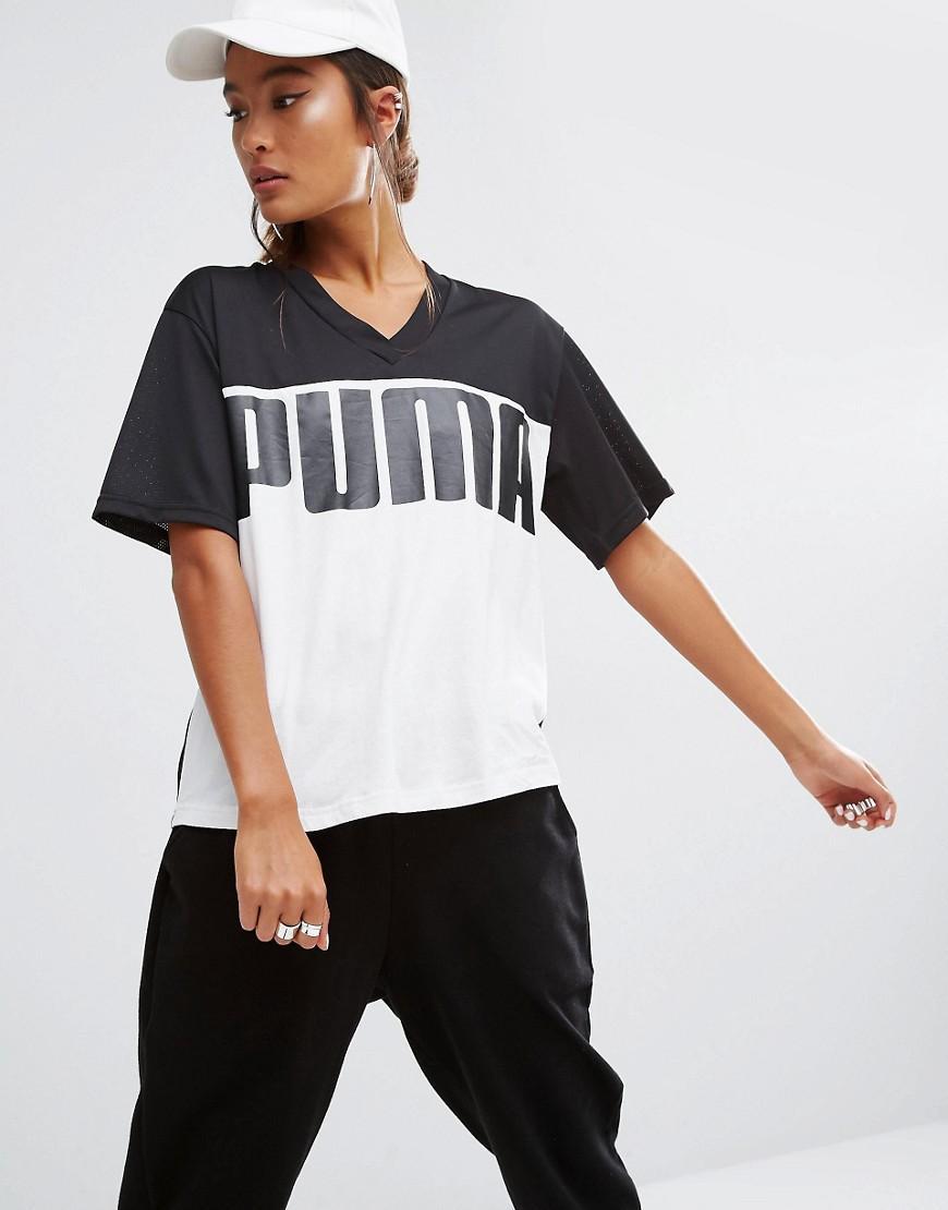 Lyst Puma Rebel Logo V Neck T Shirt In Black
