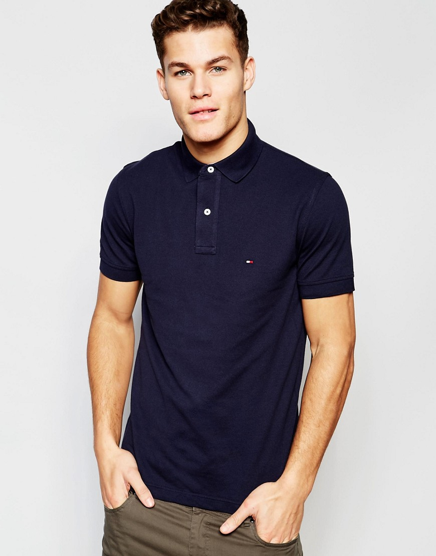 tommy hilfiger polo in slim fit in navy in blue for men lyst. Black Bedroom Furniture Sets. Home Design Ideas