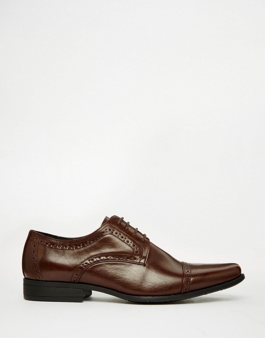 asos brogue shoes in brown in brown for lyst