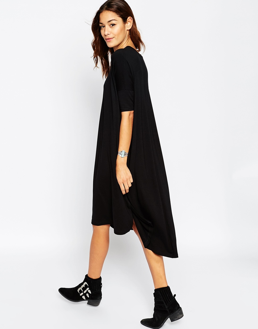 Lyst Asos Oversize T Shirt Dress With Curved Hem In Black
