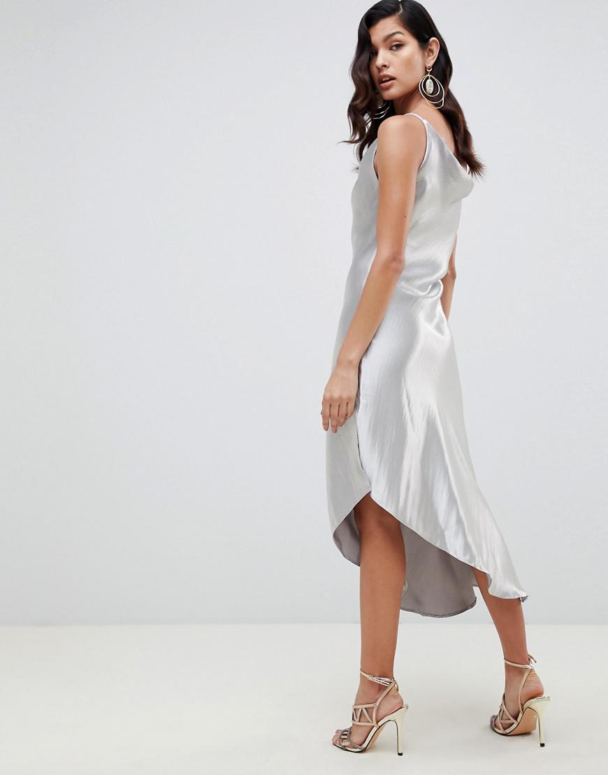 97aa5124c5c85 Lyst - ASOS Midi Slip Dress In High Shine Satin in Metallic
