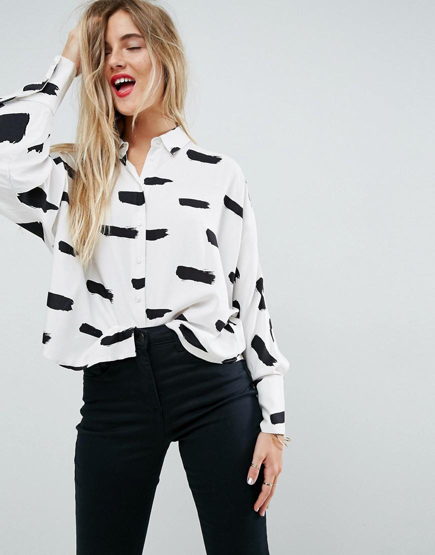 DESIGN Cropped Shirt In Abstract Mono Print - Multi Asos Cheap Sale Fast Delivery Discount Extremely Discount Release Dates zbOiB446U