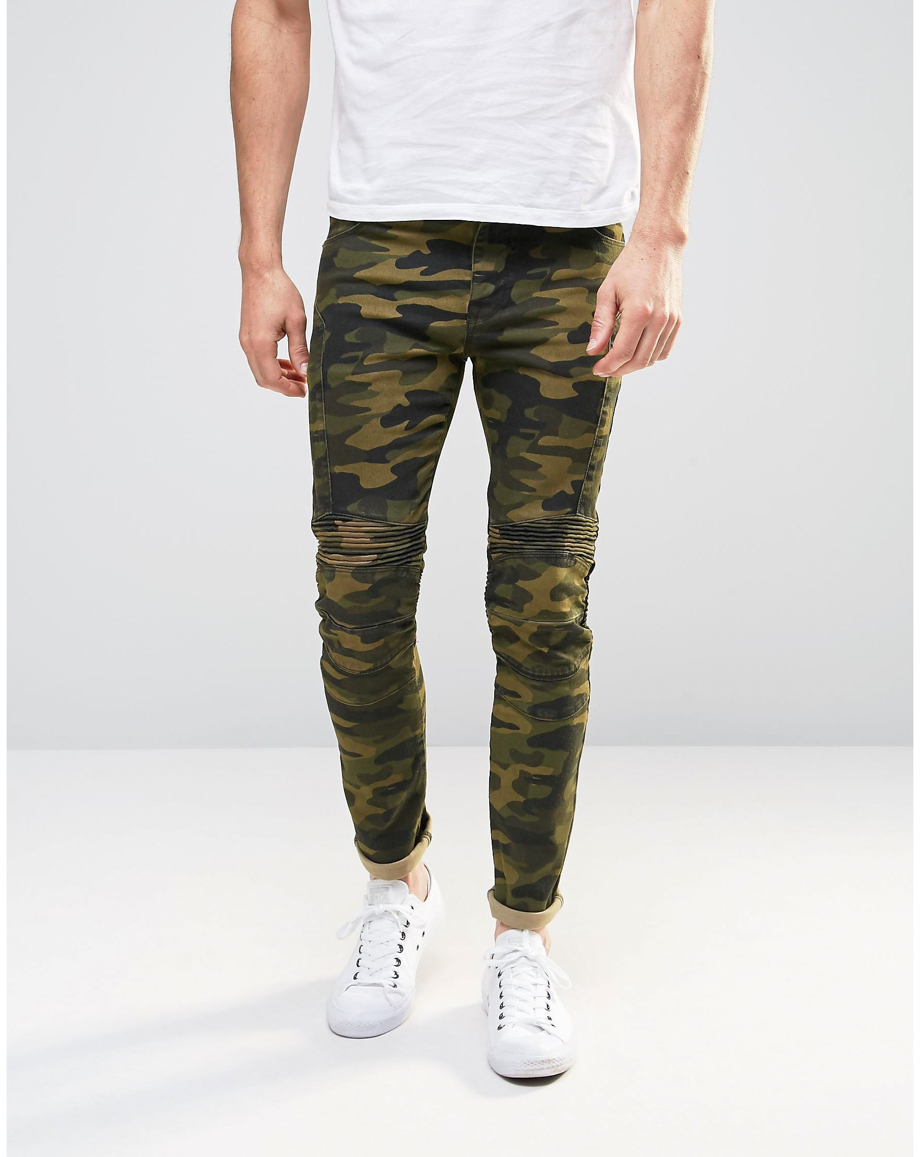 asos super skinny jeans in camo print with biker panels in green for men lyst. Black Bedroom Furniture Sets. Home Design Ideas