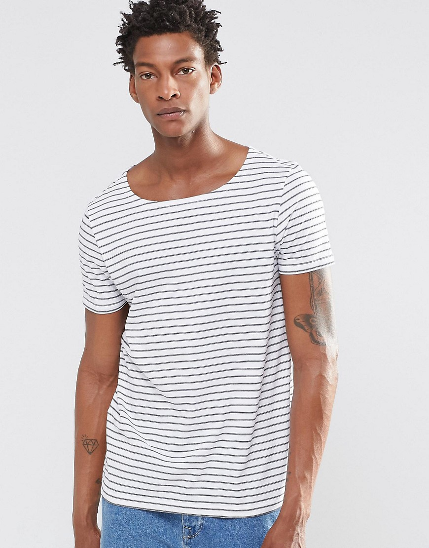 Lyst Asos T Shirt With Mini Irregular Stipe In Boat Neck